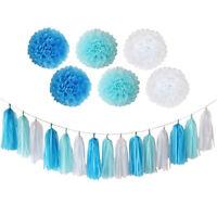 Blue Birthday Party Decorations Paper Tassels Pom Poms Set Tableware Event Decor