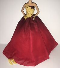 Barbie Model Muse Doll Holiday 2016 Ball Gown Outfit Red & Gold Dress Shoes NEW