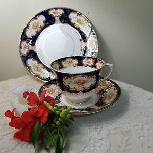 """Beautiful Royal Albert Vintage Trio """"Alhambra"""" Imari roses, cobalt & lavish gold"""