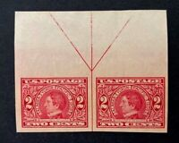 US Stamps, Scott #371 2c Seward 1909 imperf pair with arrow XF/Superb M/NH