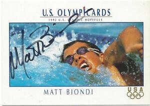 1992 IMPEL US OLYMPICARDS Matt Biondi Autograph Signed Card #69