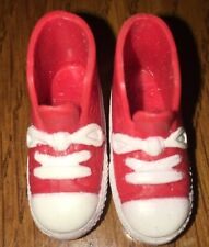 Barbie Red White Sneakers Faux Laces Flat Foot Skater Tennis Gym Athletic Shoes