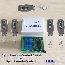2CH 433MHz Garage Door Wireless Remote Control Switch 5pcs Transmitter+Receiver