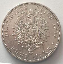 HESSE DARMSTADT 5 MARK 1875 H GERMANY KM 353 RARE SILVER CROWN GERMAN STATES