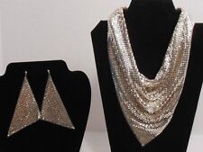VINTAGE WHITING DAVIS RARE SILVER MESH SCARF NECKLACE WITH 2 PAIRS OF EARRINGS