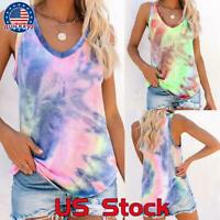 Womens Tie-dye Sleeveless Tank Tops Summer Loose T Shirts Boho Tops Blouse Beach