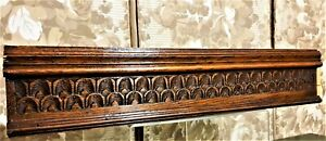 Decorative groove wood carving pediment Antique french architectural salvage
