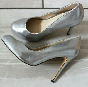 NEW WOMENS LADIES SILVER SMART HIGH HEELS ROUND TOE  COURT SHOES PUMPS SIZES