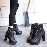 Women Ankle Boots Combat High Block Heel Platform Gothic Knight Preppy Shoes