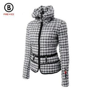 Bogner Fire + Ice Inka-D Houndstooth Down Ski Jacket - size 8 black/grey/white