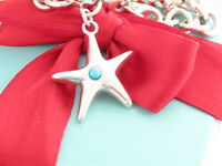 Tiffany & Co Silver 925 Turquoise Starfish Charm Bracelet 7.5""