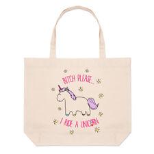 Lila BITCH PLEASE VADO un unicorno Grandi Da Spiaggia Tote Bag-Divertente shopper spalla