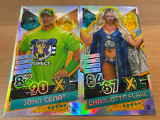 Topps WWE Slam Attax Reloaded John Cena & Charlotte Flair XL Cards -PICTURES
