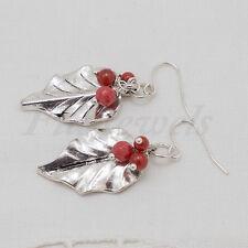 Orecchini foglie d'argento con corallo rosso Gioielli pietre dure
