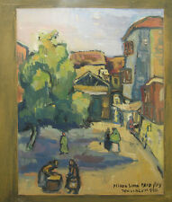 Miron Sima '50 Expressionist Gouache of Street in Jerusalem Listed Israel Artist