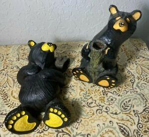 "2 Bearfoots Black Bear Figurines from Big Sky Carvers ""Ralphie"" +by Jeff Fleming"
