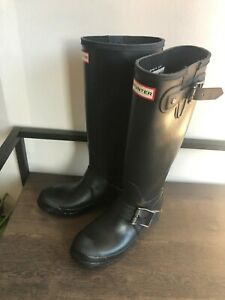 Hunter Original Wellies Black Matte Rain Boots Style Women's Size 37/6