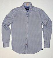 Robert Graham Mens L/S Modern Americana White Blue & Gold Brown Geo Squares Dres