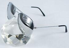 Sonnenbrille Spiegelbrille Pilotenbrille Brille silber verspiegelte Gläser