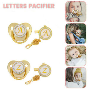 26 Letter Initial Baby Pacifier with Clip Chain Rhinestone Infant Nipple Soother