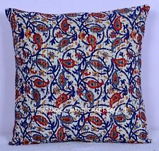 """16"""" INDIAN KANTHA QUILTED VINTAGE CUSHION COVER THROW ETHNIC DECORATIVE PILLOW"""