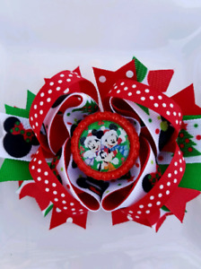"""Minnie and Mickey Mouse Disney Christmas Red Green White Bottle Cap Hair Bow 5"""""""