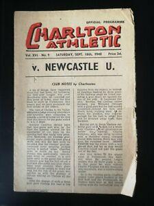 1948/9 CHARLTON ATHLETIC  V NEWCASTLE UNITED