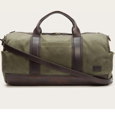 NWT Frye Carter Duffel Waxed Military Canvas Overnight Bag Duffle $428 Olive