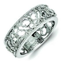 .925 Sterling Silver Polished 0.15ct Diamond Butterfly Fashion Band Ring Size 8