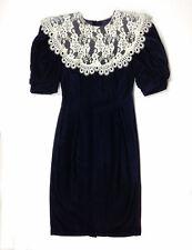 Vintage GUNNE SAX Jessica McClintock Blue Navy Velvet Lace Wiggle Dress XS XXS