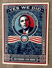 BARAK OBAMA-YES WE DID-VINYL STICKER-SHEPARD FAIREY-2008-INTACT BACKING-AS NEW