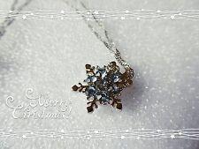 Splendido fiocco di neve Collana, Zircone, NEVE, NATALE, IDEA REGALO, Carina, Blu Chiaro