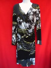 SAMUEL DONG Womens Black Gray Leopard Print Gold Chain Jersey Dress XS 2 4