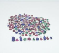 WHOLESALE 101PC 925 SILVER PLATED CUT RUBY AND MIX STONE PENDANT LOT hc896
