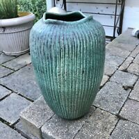 "David Cuzick Seafoam Green Studio Art Pottery Ribbed Vase Signed 12"""