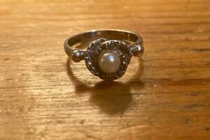 antique sterling silver seed pearl ring