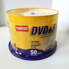 DVD+R Staples Brand Blank 16X 4.7GB 120min Record Media Disc 50 discs NEW SEALED