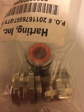 Lot Of Three NEW Harting Cable Connector (Orange Grommet)  09000005096