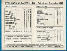 """1947 PRICE LIST FOR """"ATALANTA CLEANERS LTD"""" OF ALTRINCHAM - DRY CLEANING"""