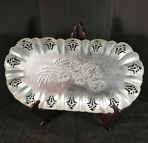 Vintage Farber & Shelvin Aluminum Hand Wrought Floral Art Deco Bread Tray