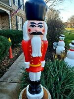 Tall Red TPI Nutcracker Blow Mold Soldier Christmas Plastic Lighted Big! 38""