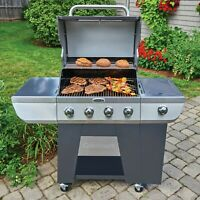 Gas Grill 4 Burner BBQ Grills Stainless Steel Propane Barbeque Cooking Side Burn