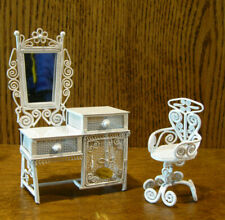 "Doll/Teddy Miniature White Metal Furniture, #30103 VANITY w/ CHAIR, 5"" & 3""  HTC"