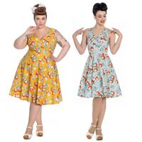 Hell Bunny Somerset Apple Blossom Vintage Style 40's 50's Flare Dress