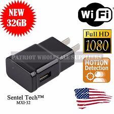 1080P WIFI USB SPY Camera Hidden Wall Phone Charger AC Adapter Plug DVR 32GB