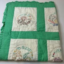 vintage baby blanket quilt cream green prayer embroidered rectangle 32x39