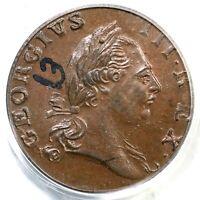 1773 PCGS MS 63 BN No Period Virginia Colonial Copper Half Penny 1/2p