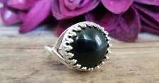 Black agate ring, adjustable, silvertone, stone, antique style gothic victorian
