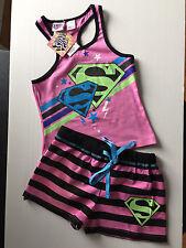 BNWT Girls Sz 10 Cute Pink Super Girl Print Short Summer Stretch PJ Pyjamas