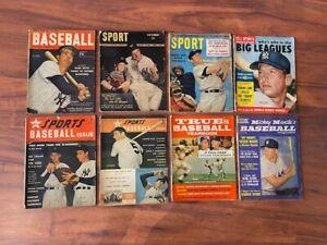 Lot of 8 Vintage BASEBALL Magazines  50s 60s ALL MICKEY MANTLE & JOE DiMaggio
